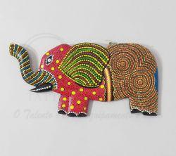 Elefante em Madeira com desenho Mosaico 001