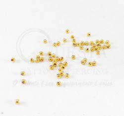Bola aço Banho de Ouro 3mm x 1.2mm c/ pedra - E