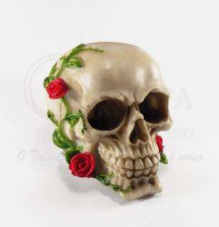 Cranio em Resina com Rosa