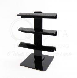 Expositor Torre em Acrílico Preto p/ 24 Piercing - Pequeno