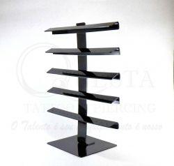 Expositor Torre em Acrílico Preto p/ 80 Piercing - Grande