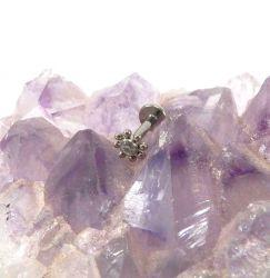 Labret em Titânio Indiano BEADED  com 1 pedra Zirconia 1.2mm (Sol)