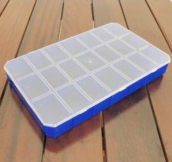 Caixa Azul com 21 divisórias -  Tampa Transparente