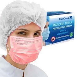 Máscara Cirúrgica PROTCLEAN ROSA - Pct 50 uni.