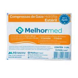 Gaze Estéril MELHORMED 13 Fios - PCT c/ 5 UNID